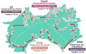 Image de la carte des 88 temples du pèlerinage de Shikoku Henro michi