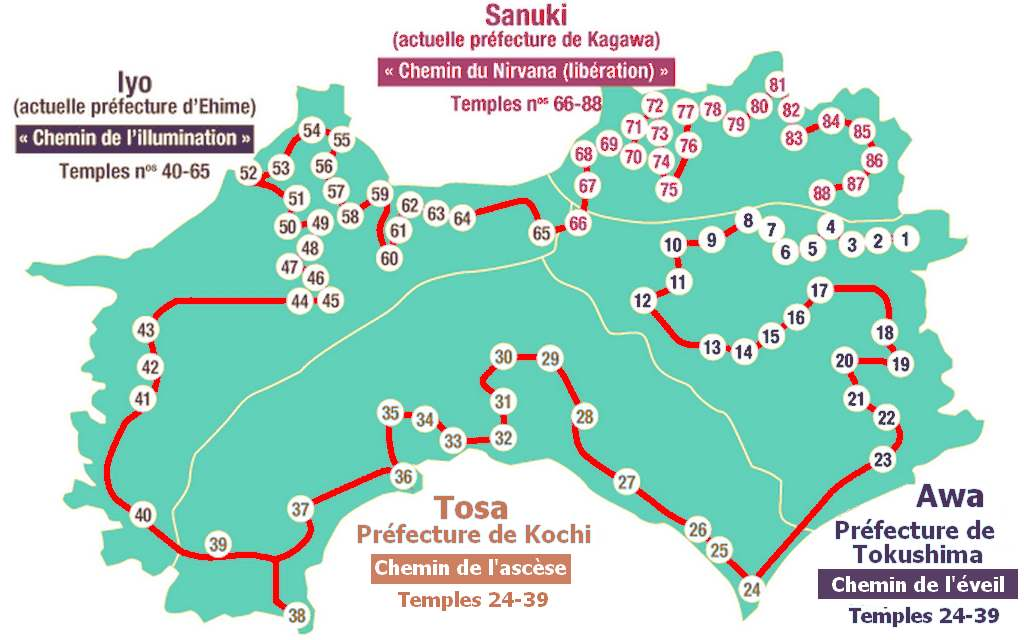Maps of Shikoku with the 88 temples ( henro michi)