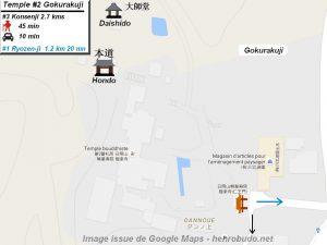 Henro Michi Temple numéro 2 Gokurakuji plan maps Hondo et Dashido