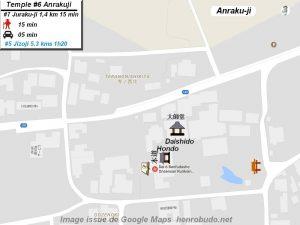 Henro Michi Temple numéro 6 Anrakuji plan maps Hondo et Dashido