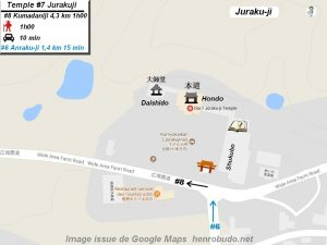 Henro Michi Temple numéro 7 Jurakuji plan maps Hondo et Dashido