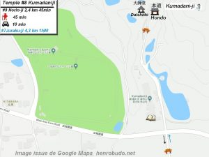 Henro Michi Temple numéro 8 Kumadaniji plan maps Hondo et Dashido