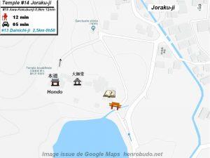 Henro Michi Temple numéro 14 Jorakuji plan maps Hondo et Dashido