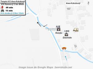Henro Michi Temple numéro 15 Awa-Kokubunji plan maps Hondo et Dashido