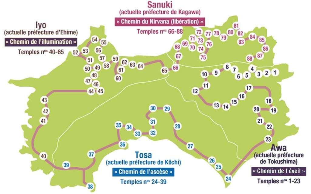 Shikoku Hachiju hachi kasho carte du pèlerinage des 88 temples