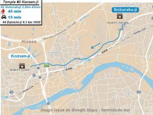 Carte google Maps : accès au troisième temple : Konsenji du pèlerinage des 88 temples de Shikoku ( Henro Michi )
