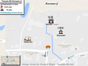 Henro Michi Temple numéro 3 Konsenji plan maps Hondo et Dashido