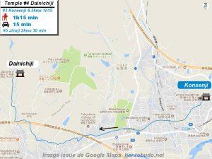 Carte d'accès google Maps au quatrième temple : Dainichiji du pèlerinage des 88 temples de Shikoku ( Henro Michi )