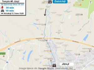 Carte d'accès google Maps au cinquième temple : Jizoji du pèlerinage des 88 temples de Shikoku ( Henro Michi )