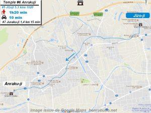 Carte d'accès google Maps au sixième temple : Anrakuji du pèlerinage des 88 temples de Shikoku ( Henro Michi )