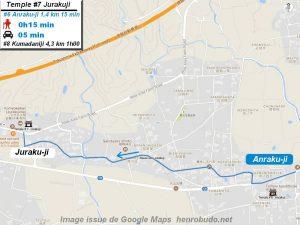 Carte d'accès google Maps au septième temple : Jurakuji du pèlerinage des 88 temples de Shikoku ( Henro Michi )