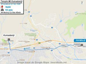 Carte d'accès google Maps au huitième temple : Kumadaniji du pèlerinage des 88 temples de Shikoku ( Henro Michi )