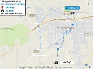 Henro Michi Temple numéro 9 Horinji plan maps Hondo et Dashido