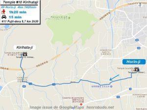 Carte d'accès google Maps au dixième temple : Kirihataji du pèlerinage des 88 temples de Shikoku ( Henro Michi )