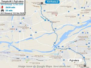 Carte d'accès google Maps au onzième temple : Fujiidera du pèlerinage des 88 temples de Shikoku ( Henro Michi )