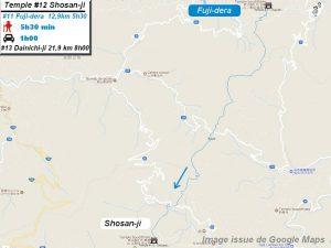 Carte d'accès google Maps au douzième temple : Shosanji du pèlerinage des 88 temples de Shikoku ( Henro Michi )