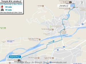 Carte d'accès google Maps au quatorzième temple : Jorakuji du pèlerinage des 88 temples de Shikoku ( Henro Michi )