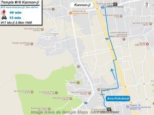 Carte d'accès google Maps au seizième temple : Kannonji du pèlerinage des 88 temples de Shikoku ( Henro Michi )