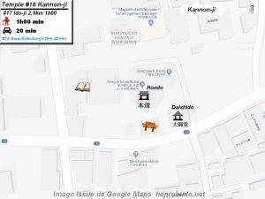 Henro Michi Temple numéro 16 Kannonji plan maps Hondo et Dashido
