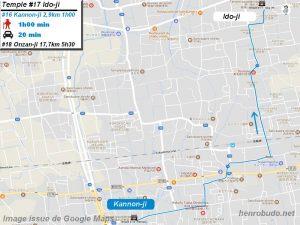 Carte d'accès google Maps au dix-septième temple : Idoji du pèlerinage des 88 temples de Shikoku ( Henro Michi )