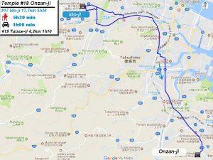 Carte d'accès google Maps au dix-huitième temple : Onzanji du pèlerinage des 88 temples de Shikoku ( Henro Michi )