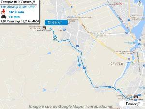 Carte d'accès google Maps au dix-neuvième temple : Tatsueji du pèlerinage des 88 temples de Shikoku ( Henro Michi )