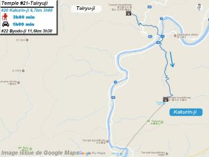 Carte d'accès google Maps au vingt et unième temple : Tairyuji du pèlerinage des 88 temples de Shikoku ( Henro Michi )