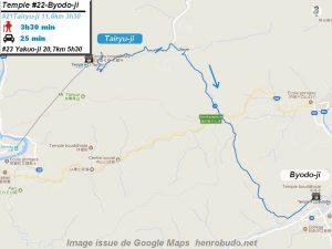 Carte d'accès google Maps au vingt-deuxième temple : Byodoji du pèlerinage des 88 temples de Shikoku ( Henro Michi )