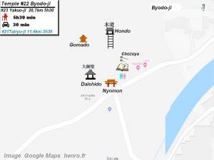 Henro Michi Temple numéro 22 Byodoji plan maps Hondo et Dashido