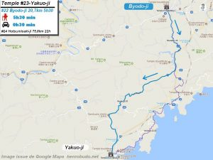 Carte d'accès google Maps au vingt-troisième temple : Yakuoji du pèlerinage des 88 temples de Shikoku ( Henro Michi )