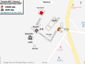 Henro Michi Temple numéro 23 Yakuoji plan maps Hondo et Dashido