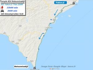 Carte d'accès google Maps au vingt-quatrième temple : Hotsumisakiji du pèlerinage des 88 temples de Shikoku ( Henro Michi )