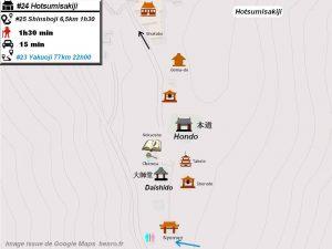 Henro Michi Temple numéro 24 Hotsumisakiji plan maps Hondo et Dashido