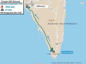 Carte d'accès google Maps au vingt-cinquième temple : Shinsoji du pèlerinage des 88 temples de Shikoku ( Henro Michi )