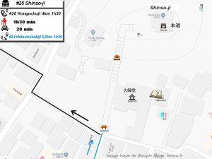 Henro Michi Temple numéro 25 Shinsoji plan maps Hondo et Dashido